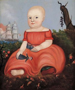 Unknown Child Holding Doll and Shoe, Attributed to George G. Hartwell (1815–1901), Probably Massachusetts or Maine c. 1845, Oil on canvas, 26 3/4 x 21 3/4 in. American Folk Art Museum