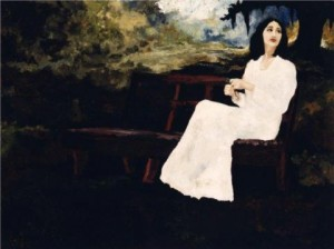 Figure 3: Evangeline Park Bench, 1976. Oil on Canvas, 30 x 40 inches. Private Collection.