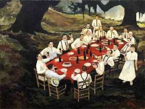Figure 6: Gourmet Club, 1978. Oil on canvas, 30 x 40 inches. Collection the University of Louisiana, Lafayette.