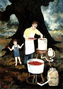 Figure 7: Andre and Boudreaux boiling crawfish, 1978. Oil on canvas, 24 x 18 inches. Private Collection.