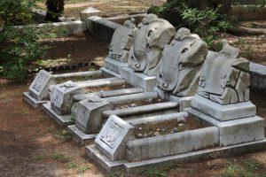 Grave sites.