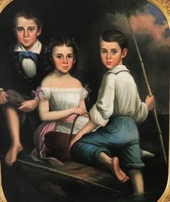 A painted portrait of 2 young boys and 1 young girl sitting on a log by a river.